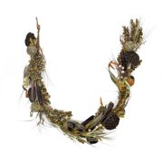 5' Dried Lotus Root and Cattail Woodland Harvest Artificial Thanksgiving Garland - Unlit