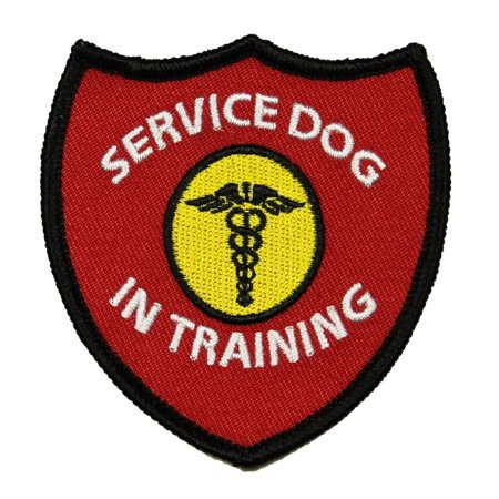 Service Dog In Training Patch Vest Shield Badge Embroidered Iron On Applique ()