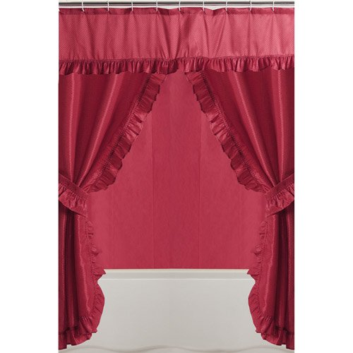 Mainstays Double Swag Red Shower Curtain 1 Each