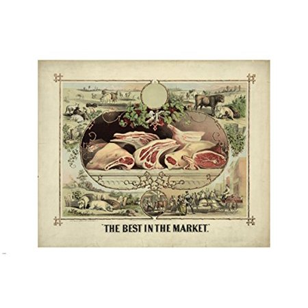 The Best In The Market Lithograph Vintage Ad Poster 24X36 Butcher (Vintage Lithograph)