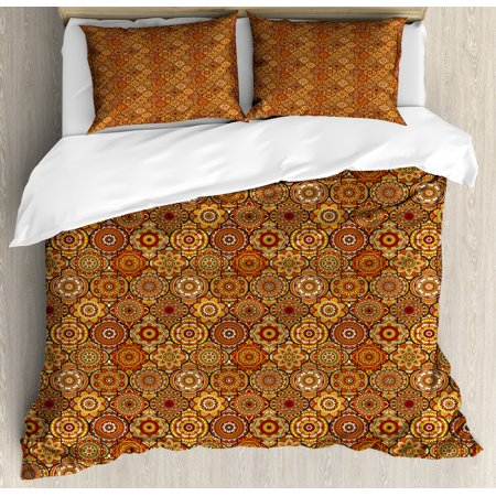 Moroccan Duvet Cover Set, Vintage Hand Drawn Style Ottoman Figures Ancient Trellis Floral Motifs, Decorative Bedding Set with Pillow Shams, Orange Yellow Brown, by Ambesonne ()