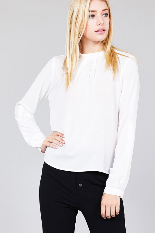 Women's 3/4 Roll Up Sleeve Crew Neck w/ Ruffle Woven Top