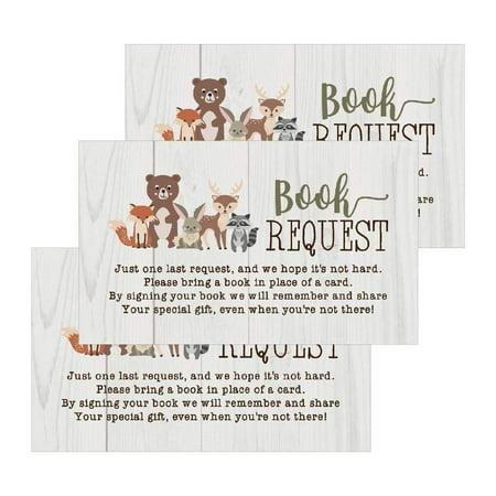 25 Woodland Books For Baby Request Insert Card For Boy or Girl Animals Baby Shower Invitations or invites, Cute Bring A Book Instead of A Card Theme For Gender Reveal Party Story, Business Card Sized (Surprise Halloween Party Invitations)