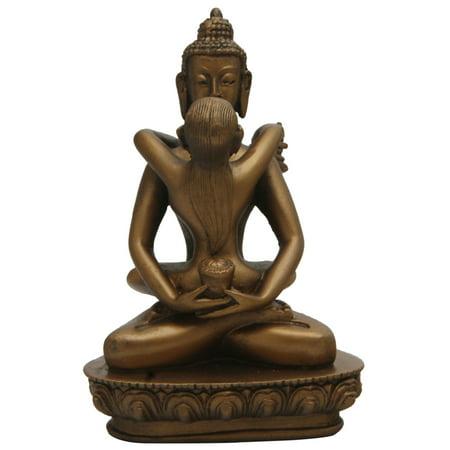 Buddha and Shakti Statue, Bronze Finish, 6 Inches Buddha Bronze Finish