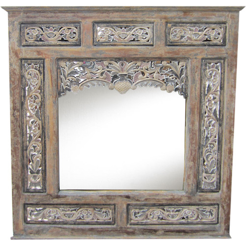 Asian Loft Balinese Carved Wooden Panel Mirror