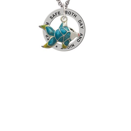 Keeping Tropical Fish - Blue Tropical Fish with Yellow Fins Keep Him Safe Affirmation Ring Necklace