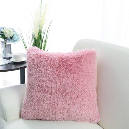 "20"" x 20"" Throw Pillow Case Faux Fur Fuzzy Cushion Cover Dark Pink - image 4 de 8"