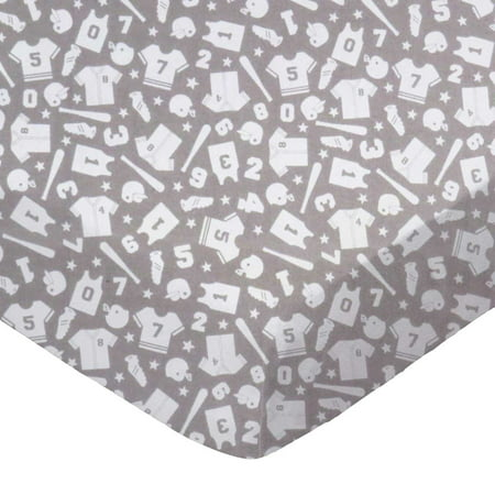 SheetWorld Fitted 100% Cotton Flannel Play Yard Sheet Fits BabyBjorn Travel Crib Light 24 x 42, Sports Grey
