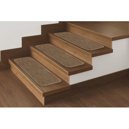 - Ottomanson Comfort Collection Soft Solid Non-Slip Plush Carpet Stair Treads, 5 Pack, 9