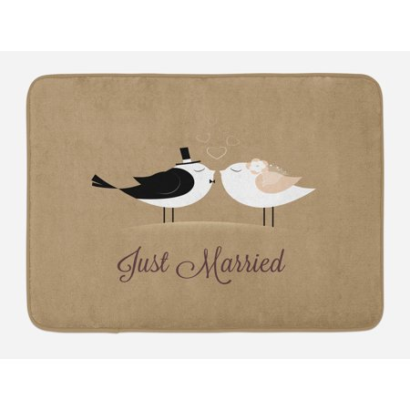 - Wedding Bath Mat, Bride and Groom Birds Kissing Just Married Hand Written Style Text Romantic Hearts, Non-Slip Plush Mat Bathroom Kitchen Laundry Room Decor, 29.5 X 17.5 Inches, Multicolor, Ambesonne