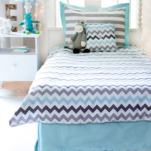 Chevron in Aqua/Grey Full Bedding Set