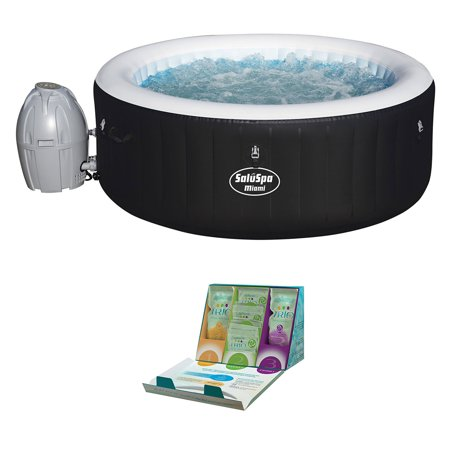 Bestway SaluSpa 4-Person Inflatable Hot Tub + SpaGuard Water Softening