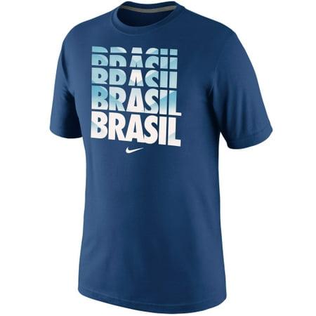 Nike Brazil Core Type T-Shirt - Royal Blue - Nike Poly Core