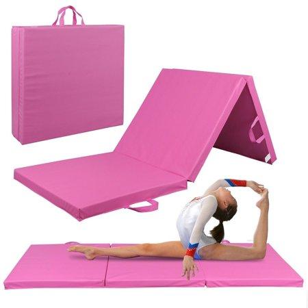 "Zeny 6' x 2' x 2"" Tri-Fold Gymnastics Gym Folding Exercise Aerobics Mats Pink Stretching Yoga Mat"