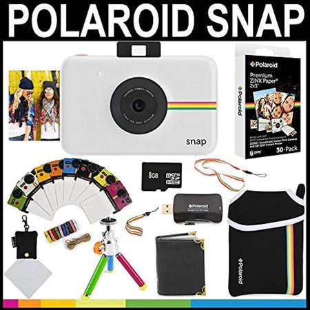 Polaroid Snap Instant Camera (White) + 2x3 Zink Paper (30 Pack) + Neoprene Pouch + Photo Frames + Photo Album + 8GB Memory Card + Accessory Bundle