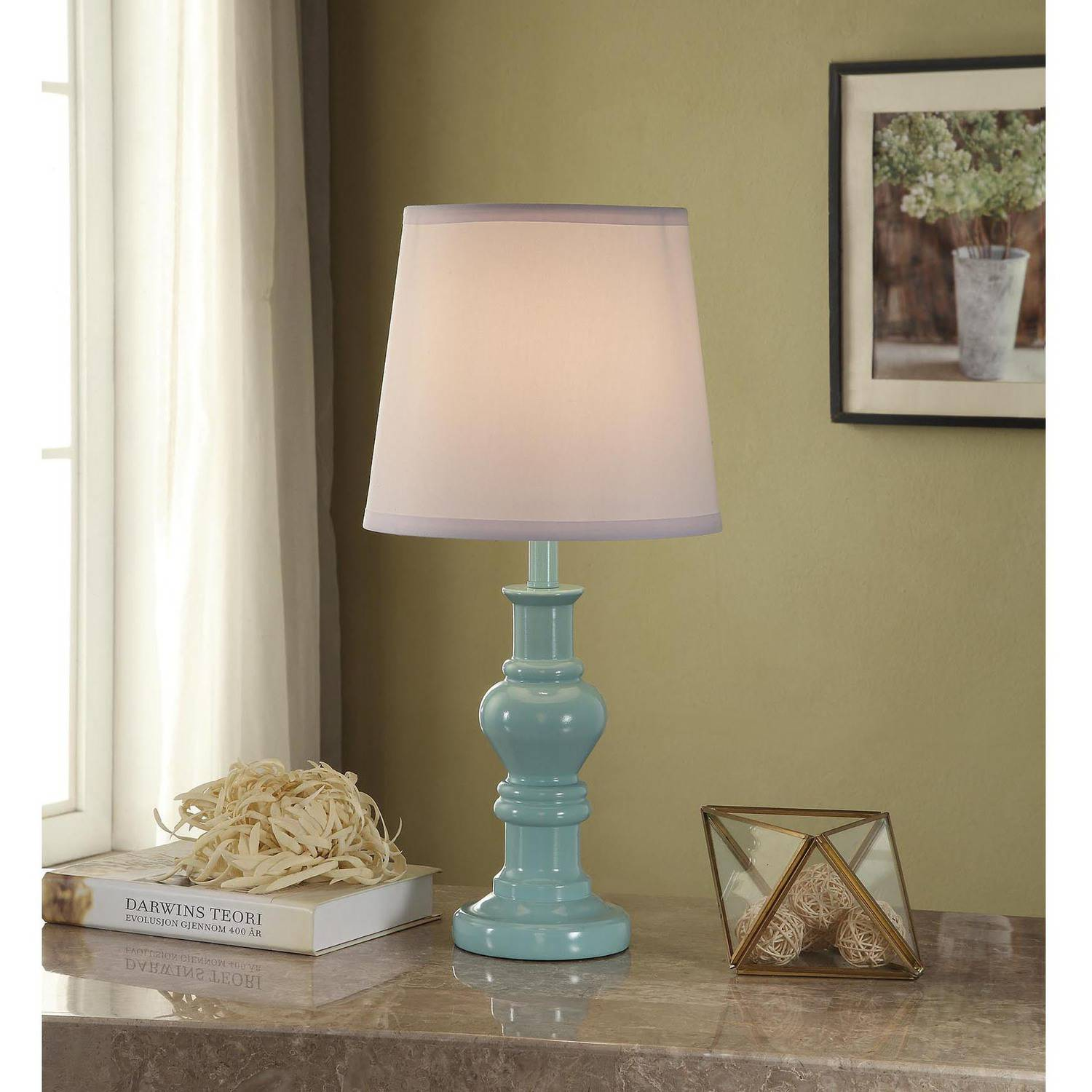 Better Homes and Gardens Teal Accent Table Lamp Base with CFL Bulb