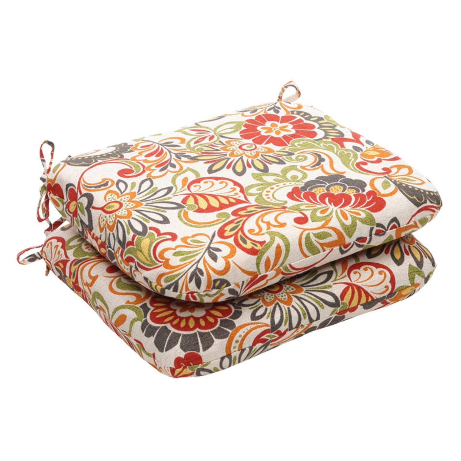 Pillow Perfect Floral Outdoor Seat Cushion - 18.5 x 15.5 x 3 in. - Set of 2