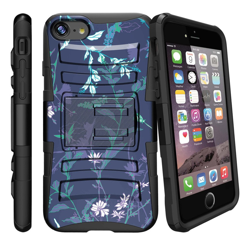Apple iPhone 7  Case Shell [Clip Armor]- Premium Defender Case Hard Shell Silicone Interior with Kickstand and Holster by Miniturtle® - Whimsical Dusk Flowers