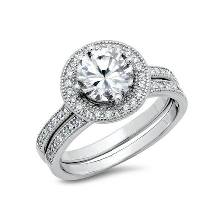 Sterling Silver Cubic Zirconia Halo 3.3 Carat tw Round Brilliant Cut CZ Wedding Engagement Ring Set, Nickel Free Sz 7