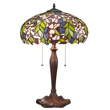 Art Nouveau Wisteria Tiffany-Style Stained Glass Lamp