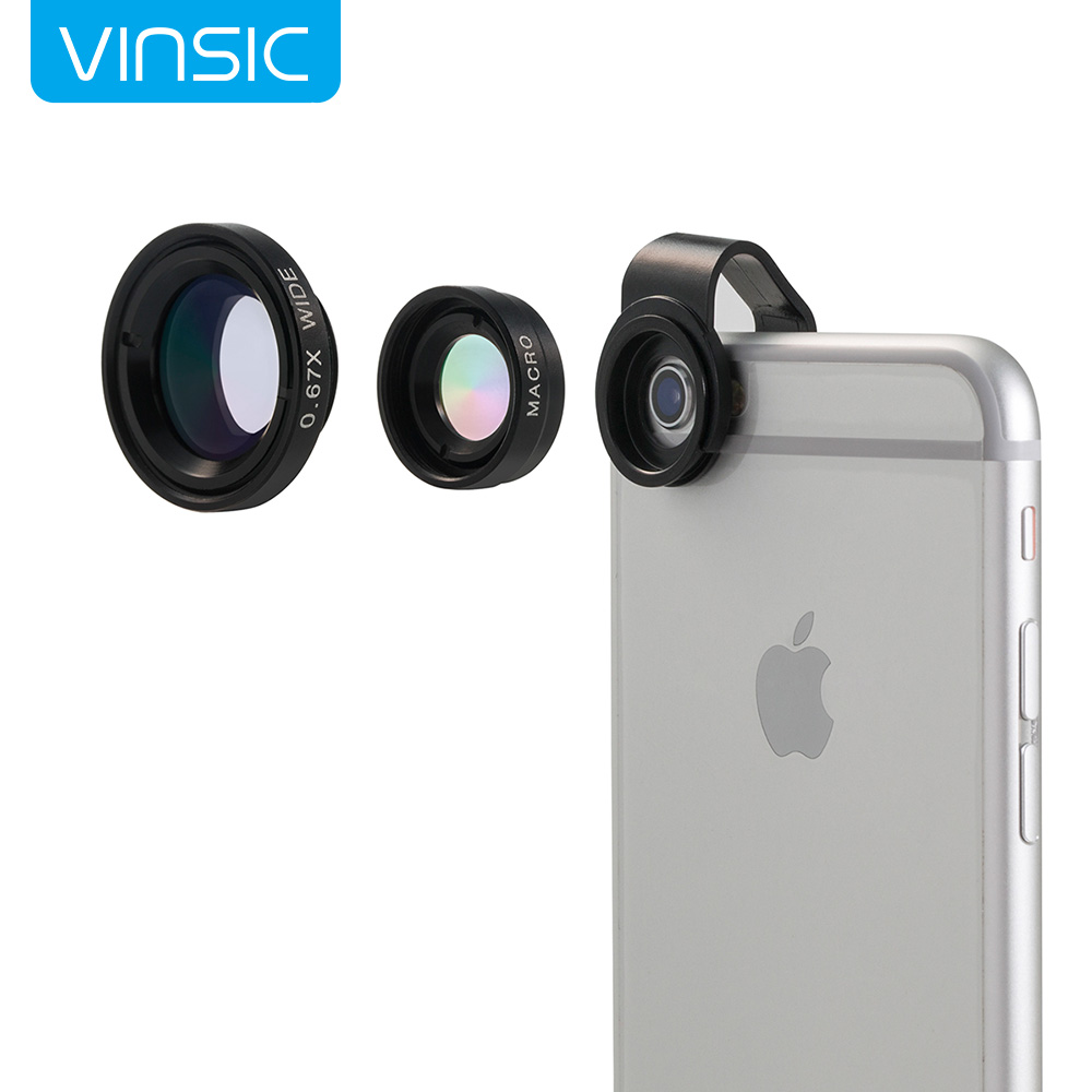 Camera Lens, Vinsic® Universal Detachable 180° Fish Eye Lens Wide Angle Lens Micro Lens 3 in1 Easy Use Camera Lens Kits Special for Apple iPhone Series, iPhone 6 6 Plus 5 5c 5s 4s 4 3(Black)