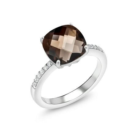 3.19 Ct Cushion Checkerboard Brown Smoky Quartz 925 Sterling Silver Ring