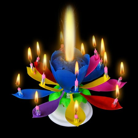 Birthday Candles 12PCS Musical Candle Blooming Lotus Flower Rotating Play Happy To You Multi