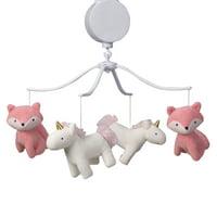 Bedtime Originals Rainbow Unicorn and Fox White/Coral Musical Baby Crib Mobile