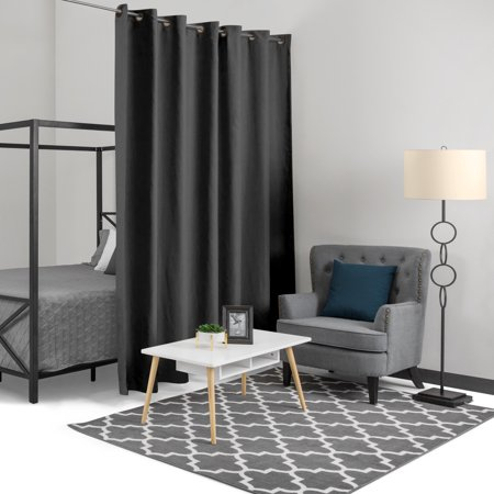 Best Choice Products 15x8ft Heavyweight Multi-Purpose Privacy Blackout Room Divider Curtain w/ Grommet Rings - Black