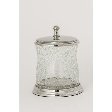 Chrome Jars (La Bella Clear Crackle Glass Cotton Jar With Chrome Finish)