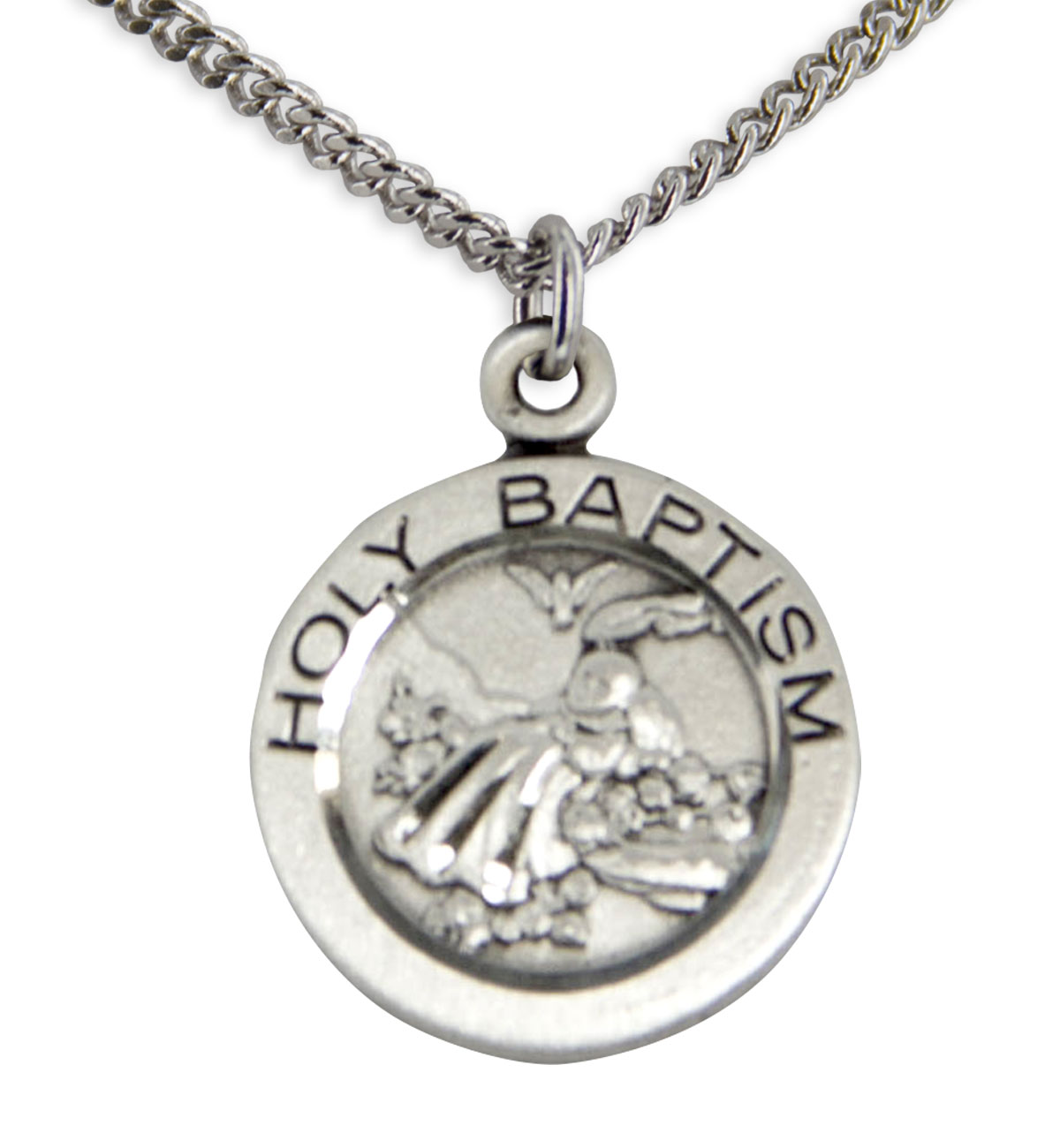 "Youth Sterling Silver Baptism Necklace + 20"" Rhodium Plate Chain & Clasp"