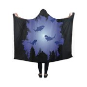 ASHLEIGH Scuba Divers and Sharks Hooded Blanket Fashion Pilling Polar Fleece Wearable Blanket Throw Blanket 40x50 Inches