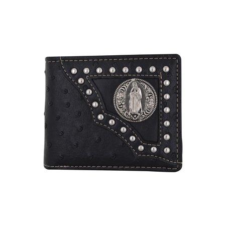 Western Virgin Mary Badge Ostrich Print PU Leather Bifold Black Wallet W012-17-OSTRICH-BK (C) (Black Ostrich)