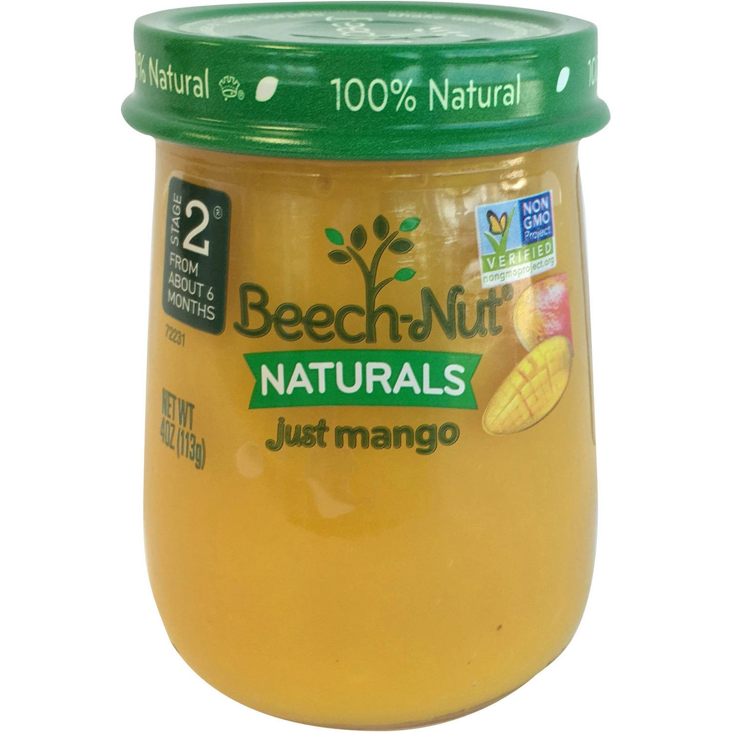 Beech-Nut Naturals Just Mango Stage 2 Baby Food, 4.0 oz, (Pack of 10)