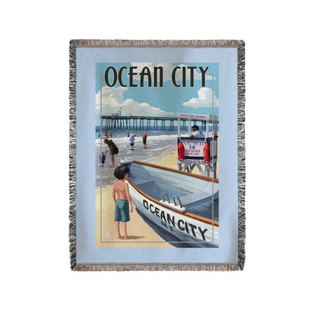 60x80 Super Plush Throw (Ocean City, New Jersey - Lifeguard Stand - Lantern Press Artwork (60x80 Woven Chenille Yarn)