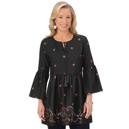 Women's Border Print Bell Sleeve Tunic Top with Scoop Neck, Boho Design, Black, X-Large, Black Multi