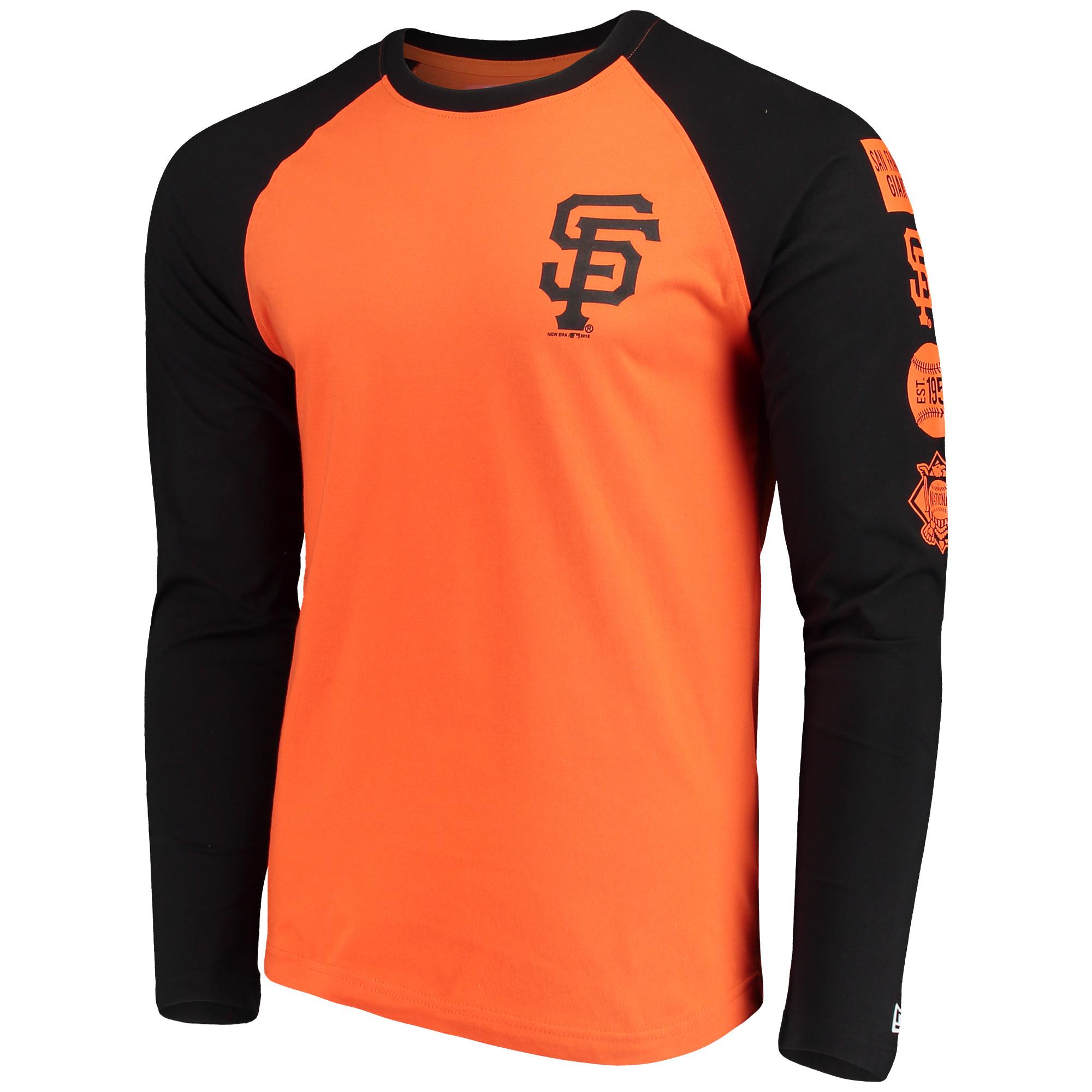 more photos 66050 1ce2c San Francisco Giants New Era Raglan Long Sleeve T-Shirt - Orange/Black