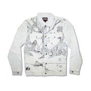 Lady Gaga Men's  Art Rave Denim Jacket White