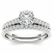 1 Carat T.W. Diamond 10kt White Gold Engagement Ring Set
