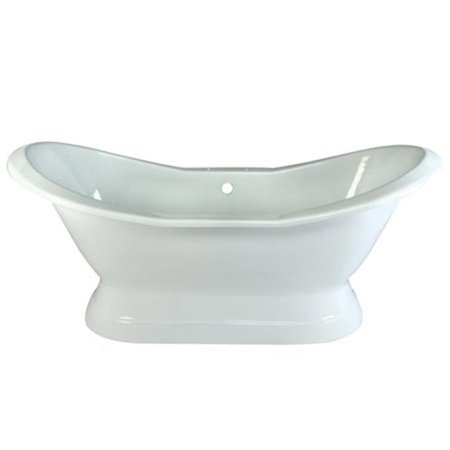 72 in. Cast Iron Double Slipper Pedestal Bathtub with 7 in. Centers Faucet Drillings, White