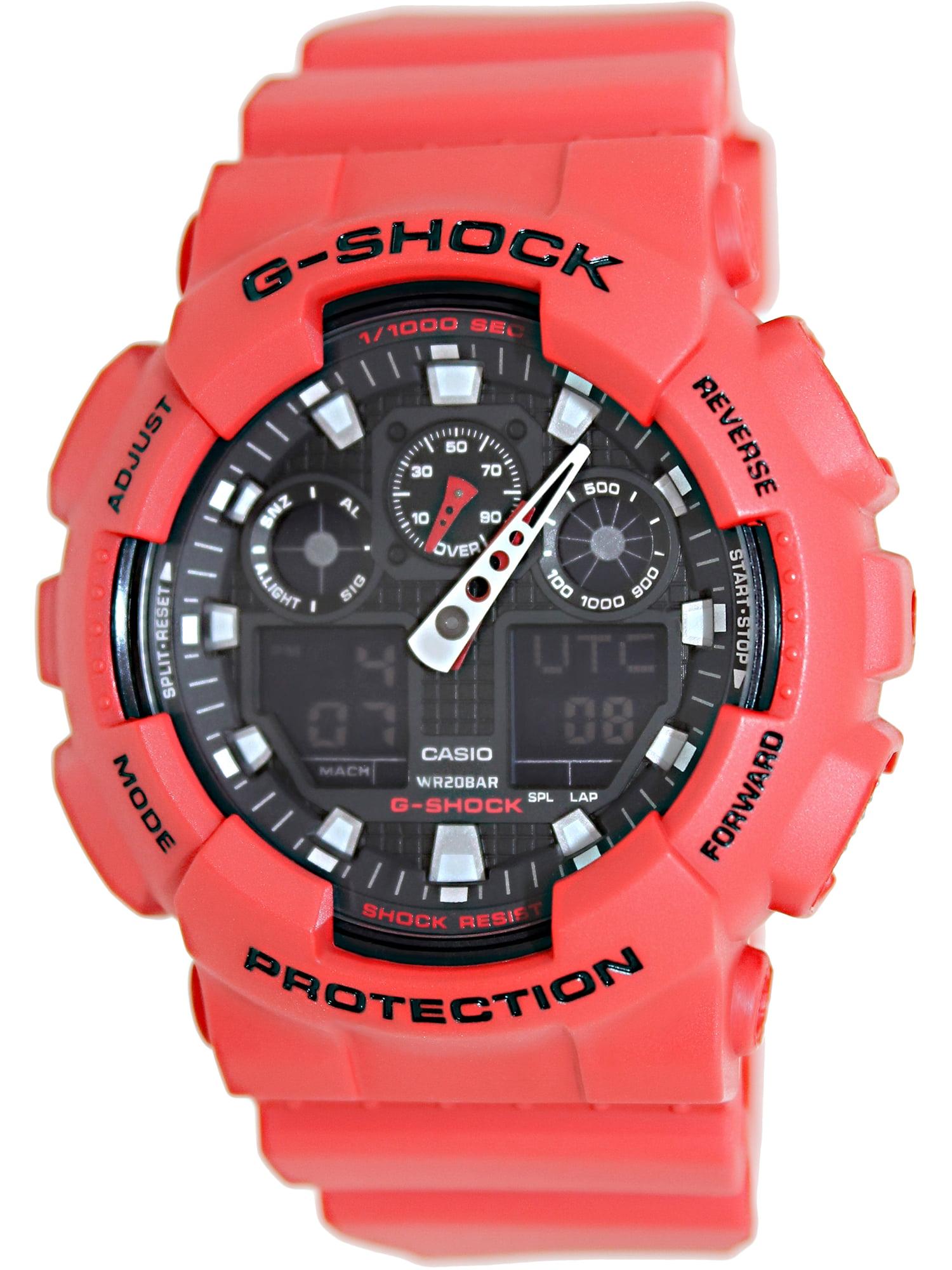 Men's G-Shock GA100B-4A Red Polyurethane Analog Quartz Sport Watch