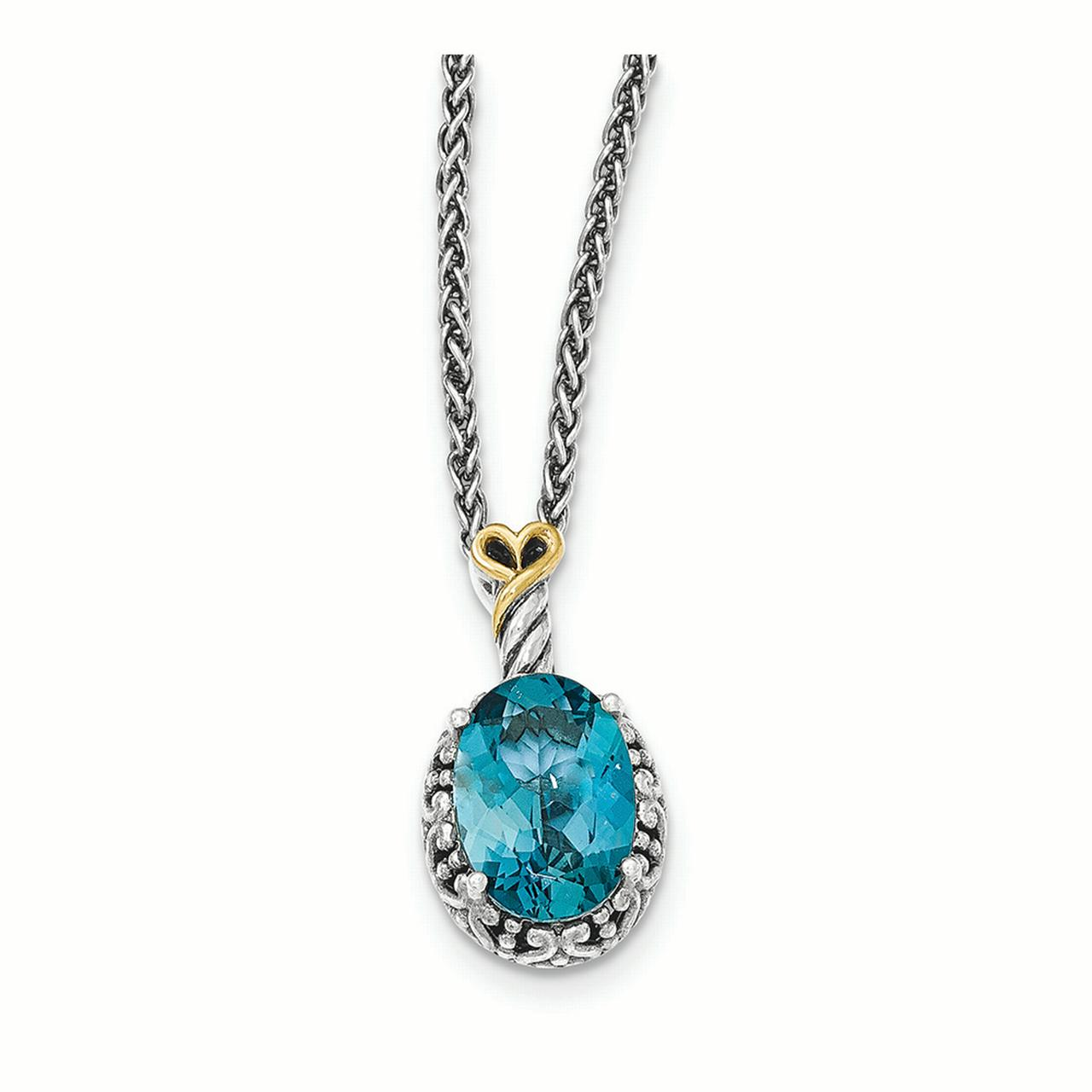 Sterling Silver w 14ky London Blue Topaz Oval Necklace by Kevin Jewelers