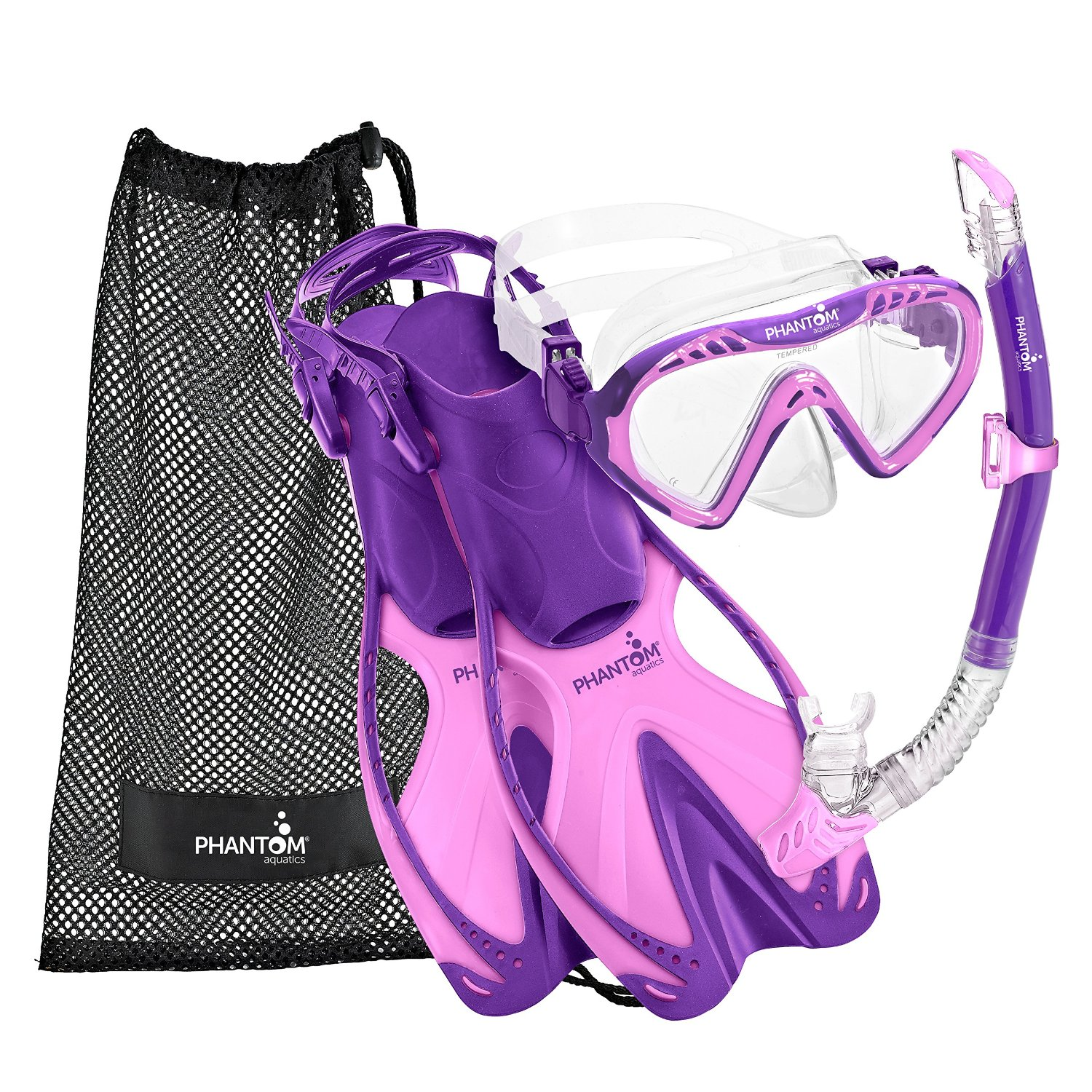 Phantom Aquatics Speed Sport Junior Mask Fin Snorkel Set, Lavender - SM