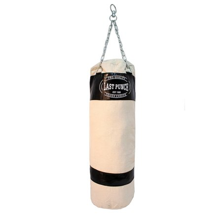 Last Punch Heavy Duty Black Canvas Boxing Punching Bag with Chains (Punching Bag Filler)