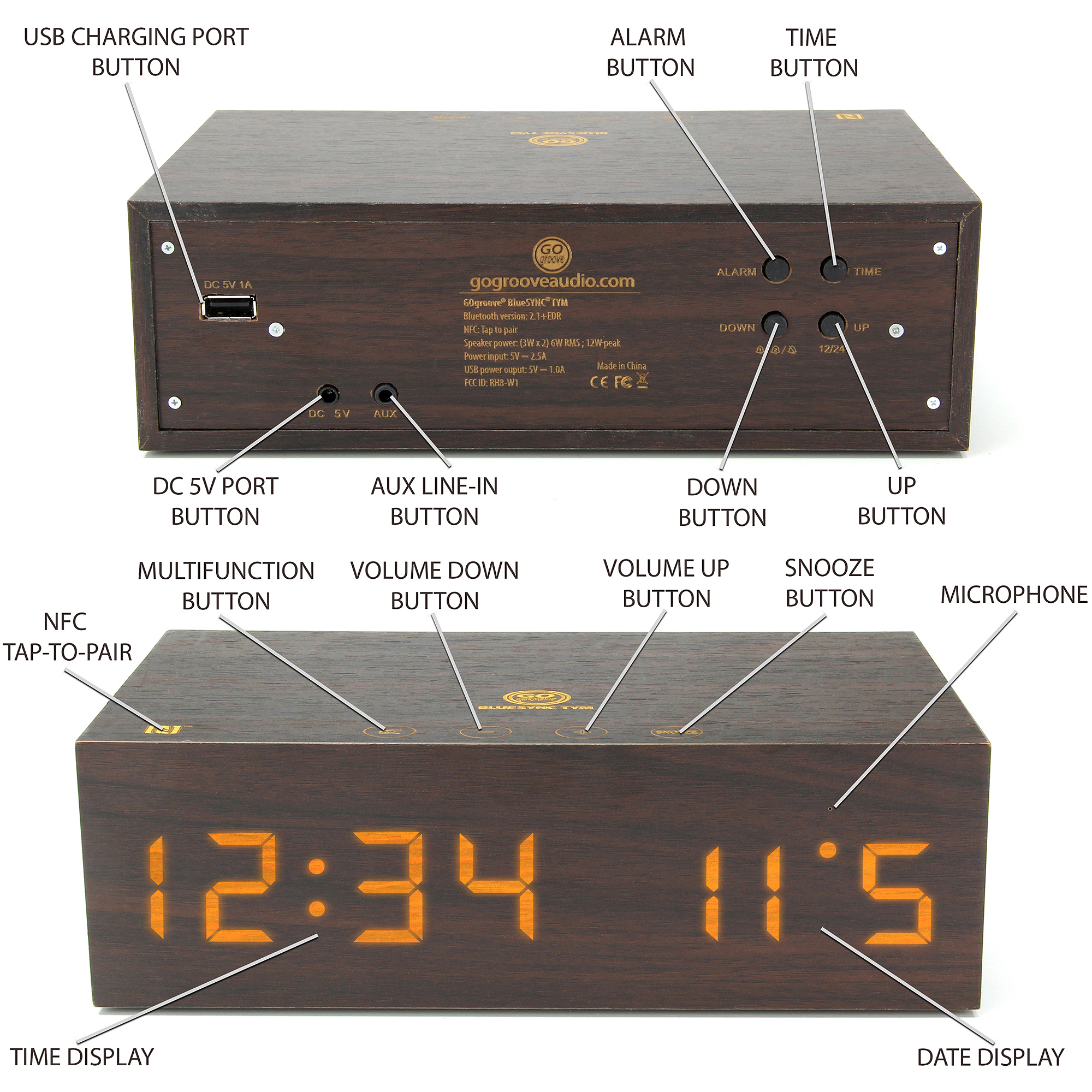 GOgroove BlueSYNC TYM Bluetooth Speaker & LED Alarm Clock