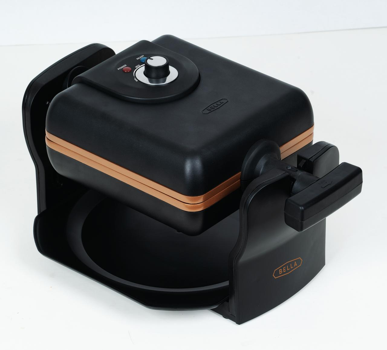 BELLA 4 Slice Rotating Belgian Waffle Maker, Black