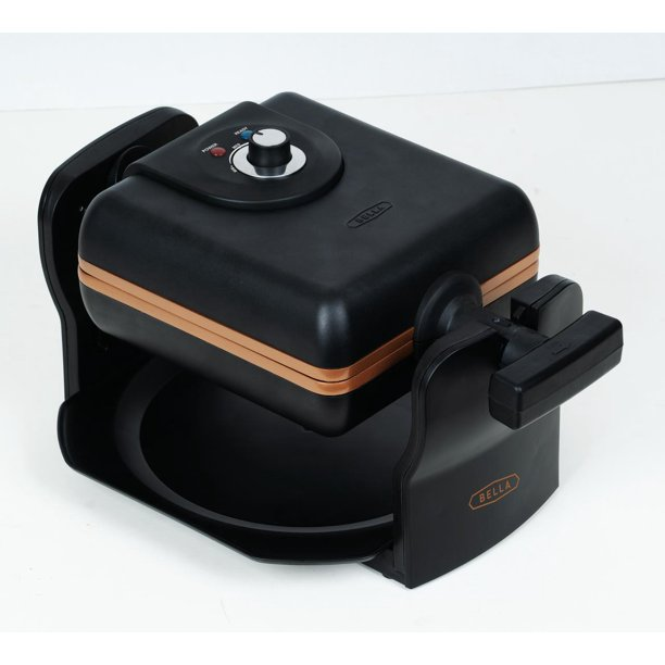 BELLA 4 Slice Rotating Black Belgian Waffle Maker