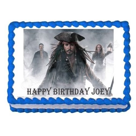 PIRATES OF THE CARIBBEAN JACK SPARROW party edible cake image cake topper - Jack And The Neverland Pirates Party Supplies