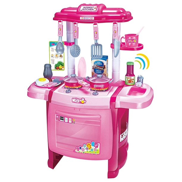 Mozlly Jumbo Cook Electronic Complete Kitchen Playset 24 5 Toddler Cooking Toys For Kids Toddlers With Oven Sink Stove Top Cookware Pretend Play With Lights Sound Effects Colors May Vary Walmart Com