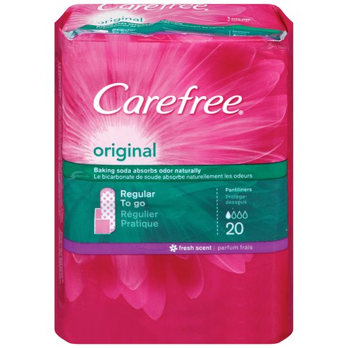 Carefree Original Regular To-Go Fresh Scent Pantiliners, 20 Count